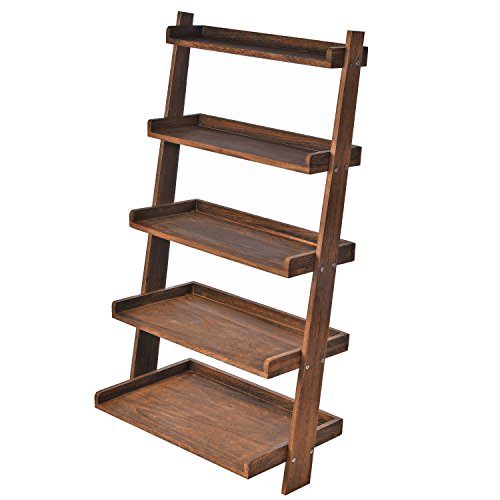 5 Tier Country Rustic Wood Display Shelf, Leaning Wall Organizer Rack, Dark Brown Country Ladder