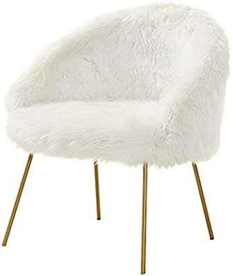 Ana White Fur Accent Chair - Metal Legs | Upholstered | Living Room,  Entryway, Bedroom | Inspired Home