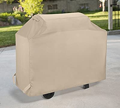 SunPatio BBQ Grill Cover, Outdoor Heavy Duty Waterproof Barbecue Gas Grill Cover, UV and Fade Resistant, All Weather Protection for Weber Char-Broil Nexgrill Grills and More, Beige