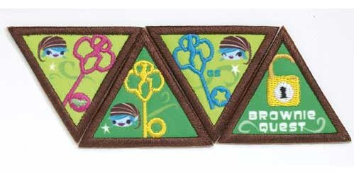 Iron On Patches - NEW, Girl Scouts and other fun group activities - BROWNIE QUEST JOURNEY AWARD PATCH SET - 4 Patches Per Set (8 Sets of all 4 Patches)