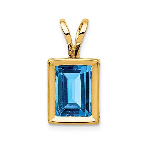 14k Yellow Gold 7x5mm Blue Topaz Bezel Pendant Charm Necklace Gemstone Fine Jewelry Gifts For Women For - Blue Topaz Pendant Bracelet