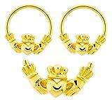Best playful piercings Friends Unisex Rings - Pair of Gold Claddagh hands & heart Irish Review