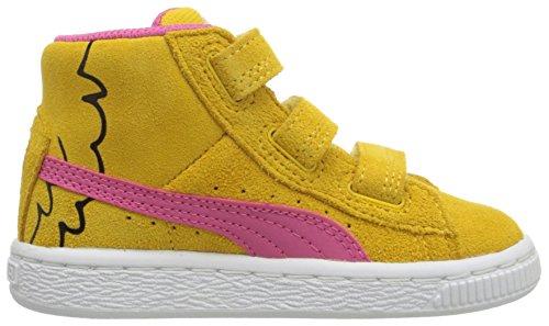 Puma Sesame Street Suede Mid Kids Sneaker (Toddler/Little Kid/Big Kid) Dandelion/Fandango Pink