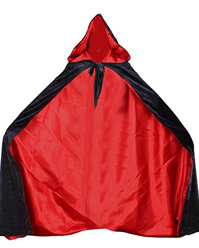 LuckyMjmy Velvet Renaissance Medieval Cloak Cape lined with Satin (Small, Black-Red)