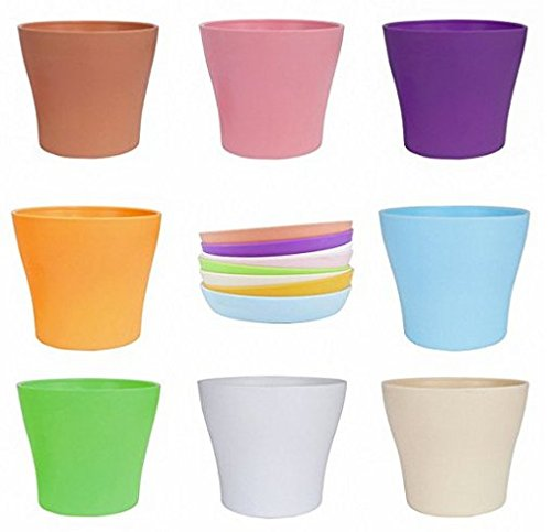 SOLOFISH 5'' Plastic Flower Pots Seedlings Nursery Pot Planter Flower Pot with Pallet 8 Colors, All Medium Size by Solofish