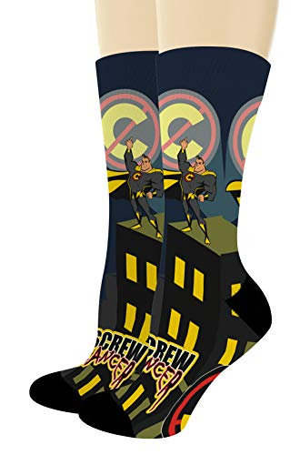 - Chemo Gifts Screw Cancer Sock Comic Themed Socks Multiple Cancer Colors 1-Pair Novelty Crew Socks