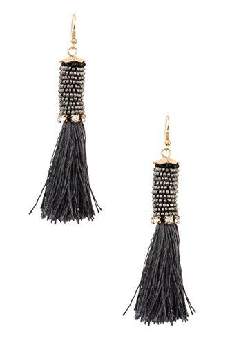 GlitZ Finery Wrapped Bead Tassel Crop Dangle Earring (Trifari Hematite Earrings)