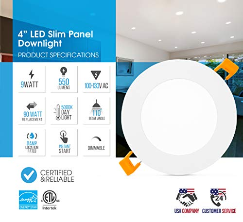 """Parmida (12 Pack) 4"""" Dimmable LED Slim Panel Recessed Downlight with Junction Box - 9W- Ultra-Thin Trim – 550lm - Energy Star & ETL - IC Rated Airtight – Retrofit Ceiling Light – 5000K (Day Light) by Parmida LED Technologies (Image #2)"""