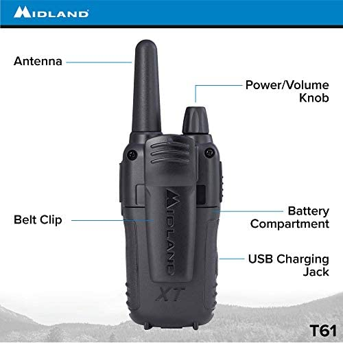 121 Privacy Codes Up to 32 Mile Range Walkie Talkie Midland Radio Corporation T61X10VP3 Alert Black//Yellow 36 Channel FRS Two-Way Radio Midland 10 Pack X-TALKER T61VP3 NOAA Weather Scan