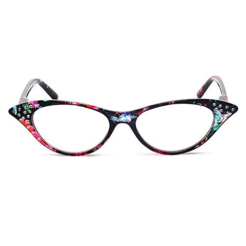 Inlefen Vintage Womens Fashion Designer Cat Eye Reading Readers with - Eyewear Frames Flair