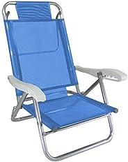 Cadeira de Praia Alumínio Reforçada 5 Posições Banho de Sol Azul Zaka 120 KG