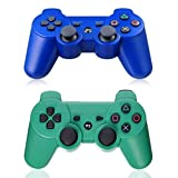 XFUNY Pair of 2 Wireless Bluetooth Game Controllers for PlayStation 3 PS3 Double Shock (1 Blue + 1 Green)