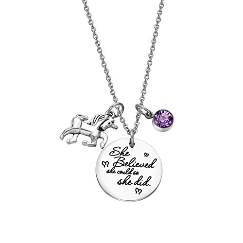 Fullrainbow Unicorn Necklace Inspirational Necklace Birthstone Pendant Necklace She Believed She Could So She Did Necklace for Girls (Jun)