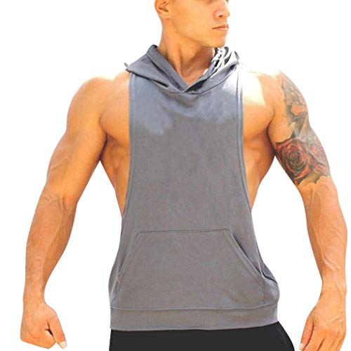 JJLIEKR Mens Casual Lightweight Sleeveless Hoopies Vest Hoodies Breathable Tops Summer Pocket T-Shirt Tops Sports Blouse Gray