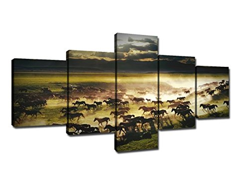 (Horse Pictures Painting Canvas Wall Art Decor for Bedroom, Rustic Tan Horses Prints of Wild Western Steed Running in Sunset 5 PCS Artwork for Living Room Home Decor Framed Ready)