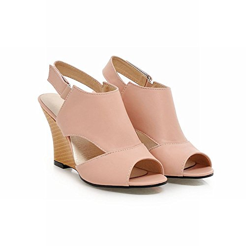 Mee Shoes Women's Casual Wedge Heel High Heel Fish Mouth Sandals Shoes Pink Km0ssEE