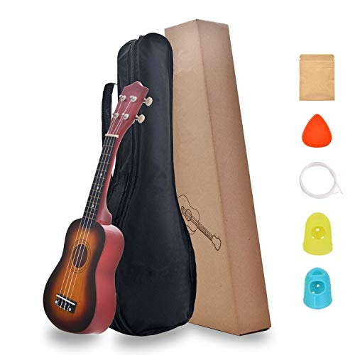 FreeTrade Soprano Ukulele,Mini Guitar,Musical Instrument Rainbow Starter Uke Hawaii kids Guitar 21 Inch with Gig Bag for kids,Students,Beginners(Sunburst)