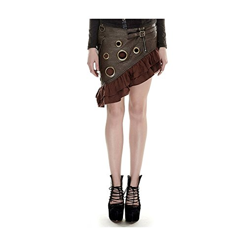 Vampiress Ruffled Skirt Adult Costumes (Women's Gothic Steampunk Skirt with Rivets (Large, Brown))