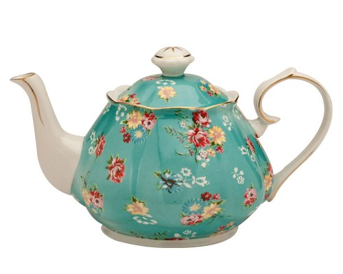 Gracie China Shabby Rose Porcelain 4-1/2-Cup Teapot, Shabby Rose Teal