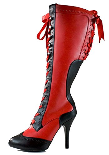 Red & Black Vintage Style Lace Up Victorian Corset Gothic Pirate Womens Boots 8 by SharpSpirit
