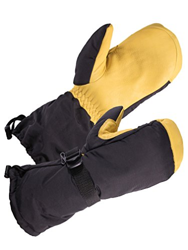 SD8649T/XL - SKYDEER Ski Mittens Gloves with Waterproof Genuine Deerskin Leather and 3M Thinsulate Insulation Cotton