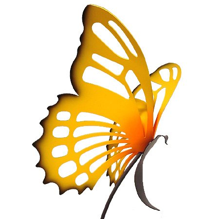 Large Butterfly Sculpture Garden Stake - Yellow Monarch