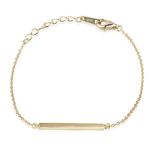 S.Leaf Bracelets for Women Bar Bracelet Minimalism Line Bracelet Sterling Silver (yellow gold)