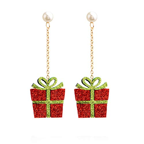 Weiy Christmas Theme Drop Earrings Fashion Lovely Creative Christmas Giftbox Elk Christmas Tree Jingling Bell Santa Claus Snowman Design Dangle Earrings Women Girls