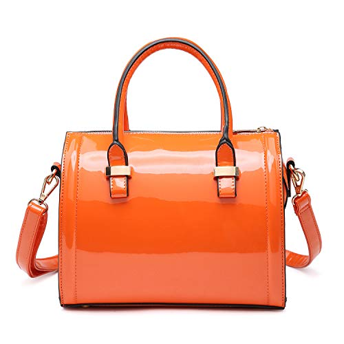 Dasein Shiny Patent Faux Leather Mini Barrel Body Satchel Handbag Shoulder Bag - Orange-new (Orange Patent Leather Clutch)