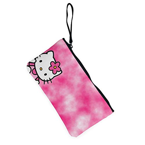 d2ebd1075 Amazon.com: JINUNNU Shading Hello Kitty Printed Canvas Change Coin Purse  Holder Zip Wallet Cellphone Bag with Handle: Home & Kitchen