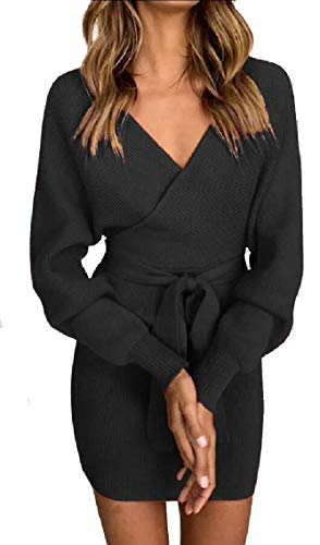 Black Bodycon Backless Wrap Elegant Sleeve Maweisong Women's Batwing Neck Dress Pencil V TWpPqa