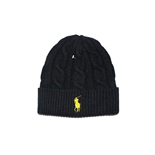 Generic Beanie Skull Cap Hip Hop Lambs Wool Men Women Polo Color Knit Winter Ha (Black Yellow) (Polo Snapback Hats)