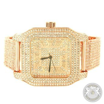 Rose Gold Finish Watch Techno Pave Mens Simulated Diamond Iced Out Brand New