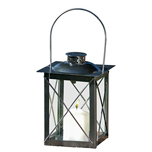 (WHW Whole House Worlds Urban Chic Industrial Metal Cross Post Hurricane Lantern, 8 Inches Tall, Rustic Black Iron, Crystal Clear Glass, Vintage Style, Top Opening)