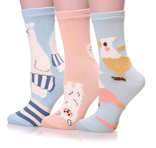 EBMORE Women's Animal Winter Casual Cotton Crew Socks Gift 3-Pack (Bear/Sheep/Chicken)