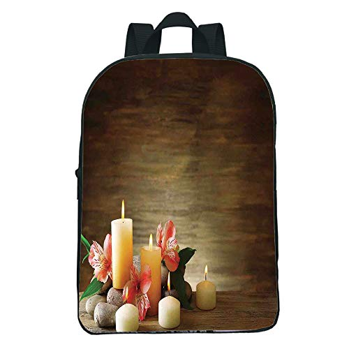 iPrint Personal Tailor Mini Black knapsack,Spa Decor,Spa Composition Many Candles Wellbeing Unity Neutrality Icons Calm Happiness Home Decor,Multi Kids,Diversified Design.11.8