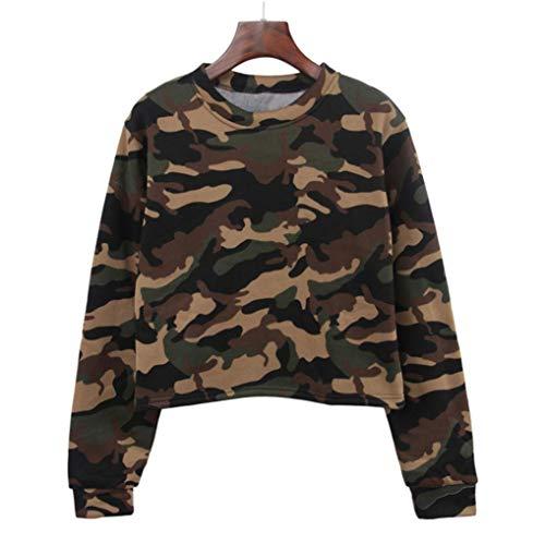 FimKaul New Women Ladies Camouflage Long Sleeve O Neck Sweatshirt Loose Pullover Blouse Top Shirt (L, Green)