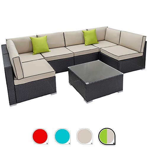 Walsunny 7pcs Patio Outdoor Furniture Sets,Low Back All-Weather Rattan Sectional Sofa with Tea Table&Washable Couch Cushions (Black Rattan (Khaki with Black Side)