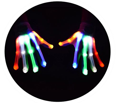 Rave Costumes For Men (atomic sports LED Skeleton Gloves that Glow in the Dark (Multi-Color))