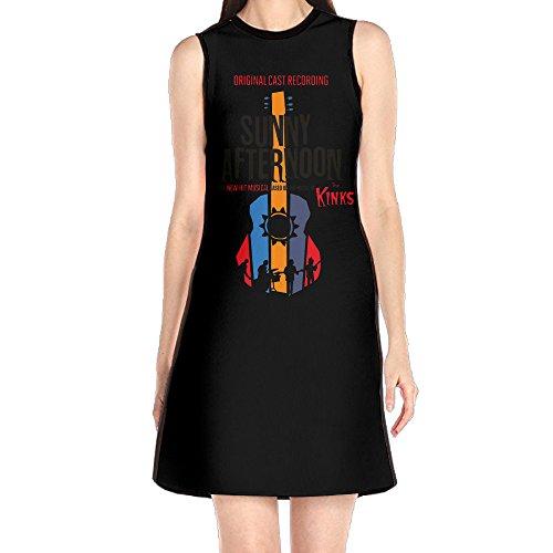 GHHK Women's The Kinks Sleeveless Vintage Tshirt Dress White L (Lola Sleeveless Skirt)