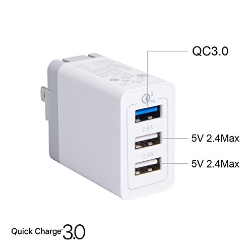 QC 3.0 USB Wall Charger,LYILIN 30W 3-Port USB Power Adapter for iPhone X/XS/XS MAX/8/7/Plus, Samsung Galaxy S9/S8 and More(White)