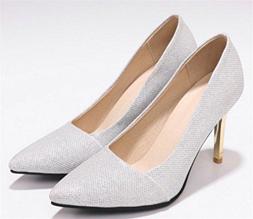 LUCKY Damen Prinzessin High Braut Luxus Blink Schuhe A Court Toe Sandalen Peep Pumps Schuhe Damen Tanzparty Queen Silver CLOVER Heels Fashion xr4Pwgx