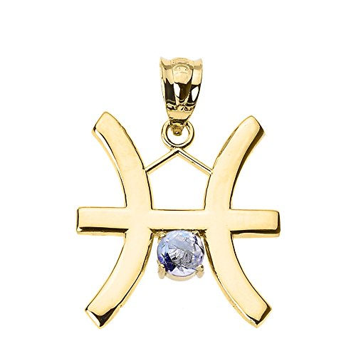 Astrology Jewelry Personalized 10k Yellow Gold Genuine Aquamarine March Birthstone Pisces Zodiac Charm Pendant