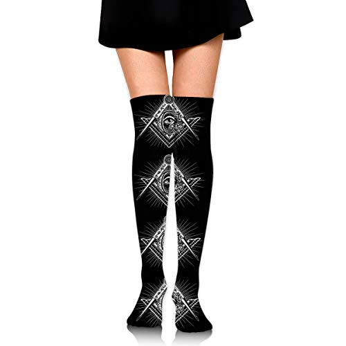 MFMAKER Womens Over Knee High Casual Freemasonry Freemason Logos Black Socks Tube Leg Thigh High Stockings Leg Warmers Socks