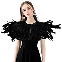 Homelix Gothic Black Natural Feather Cape Shawl with Choker Collar (Style 3),One Size