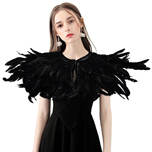 (HOMELEX Gothic Black Natural Feather Cape Shawl with Choker Collar (Style-2))