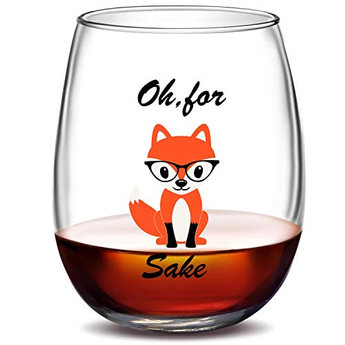 Oh, for Fox Sake Stemless Funny Wine Glasses | Unique Fox Themed Idea Birthday Gifts for Women, Men, Wine Lover, Best Friend - 15 oz (Glass Fox)
