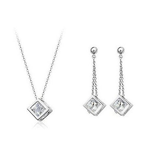 - 14k White Gold Plate Sterling Silver 0.5ct Cubic Zirconia Diamond Cube Pendant Necklace and earring For Women