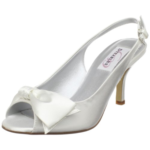 Dyeables Women's Faye Open-Toe Pump,White Satin,7 B US