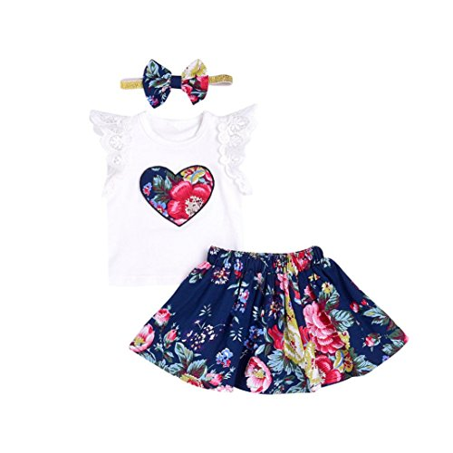 CCSDR Baby Girls Clothes Set,Infant Floral Print Lace Tops Short Sleeve T-Shirt+Skirt+Headbands Outfits (6-12 Months, White)